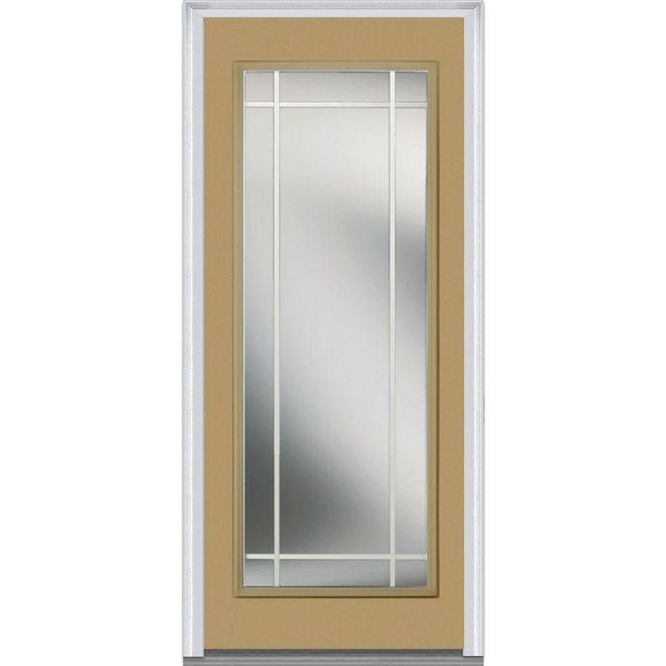 gbg left hand full lite classic painted fiberglass smooth prehung front door sandal steel exterior