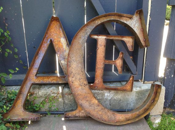 AZ 36 Rustic Metal Letters Numbers & Symbols by tulipsNtoadstools, $190.00