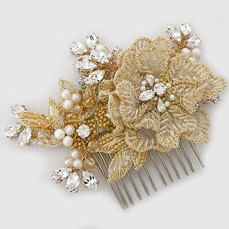 Laura Jayne Bridal Hair Accessories. Celeste floral bridal hair comb with gold embroidery, crystal, pearls defines boho chic. It's just pretty.