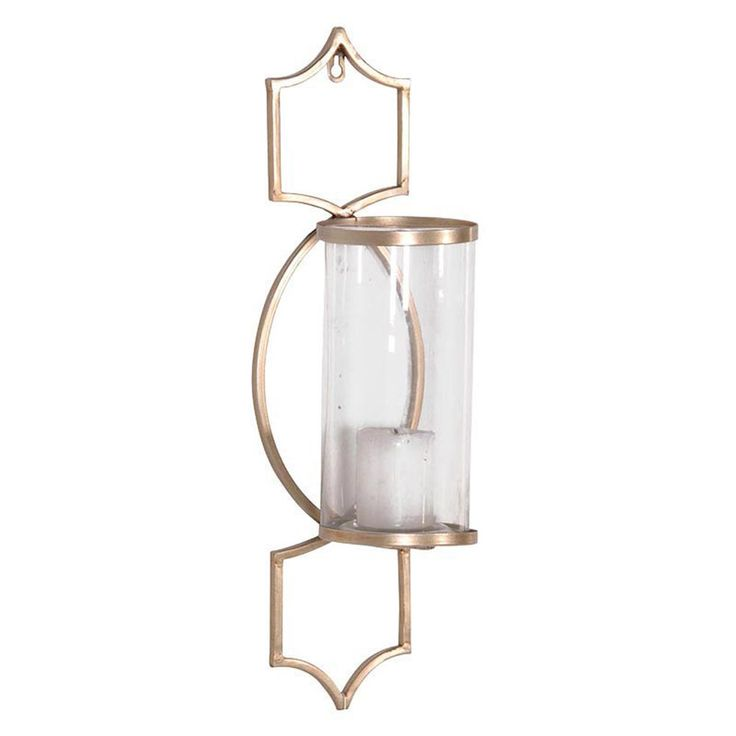 Elegant metal candle holder with glass shade. With a pale pewter metal finish. Glass Lantern Wall Sconce. Wall mounting. | eBay!