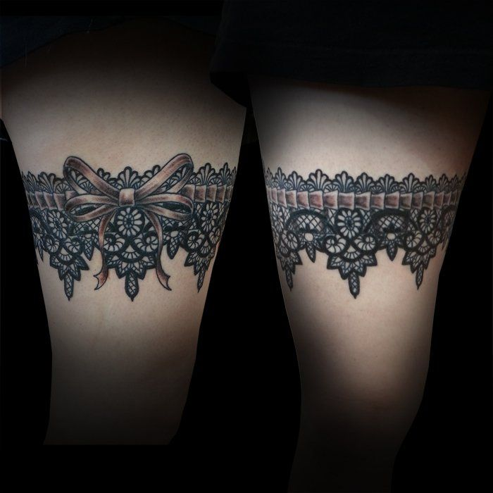 picstitch of lace garter around leg by Joe Paul | Yelp