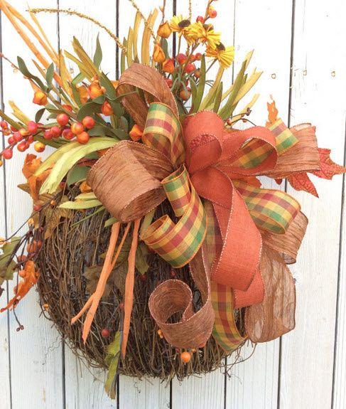 pumpkin door hanger fall door hanger grapevine pumpkin