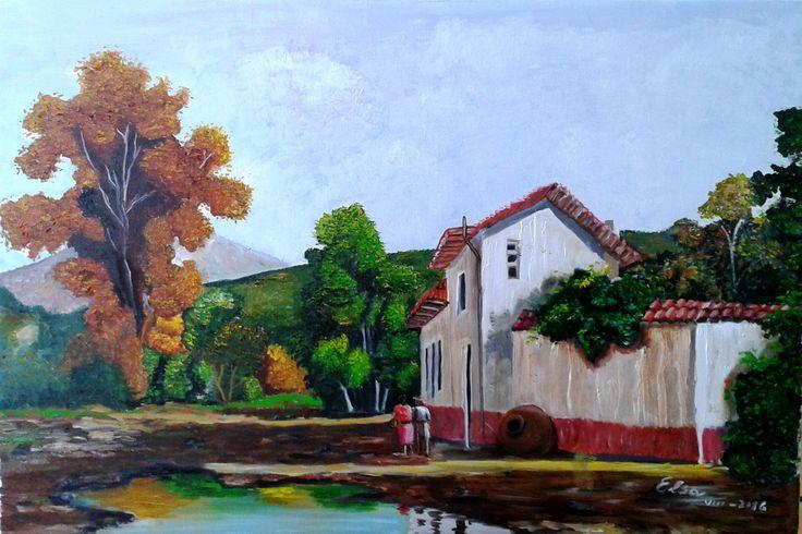 Elsa Contreras - Paisaje rural óleo sobre tela 60 x 40 (réplica)
