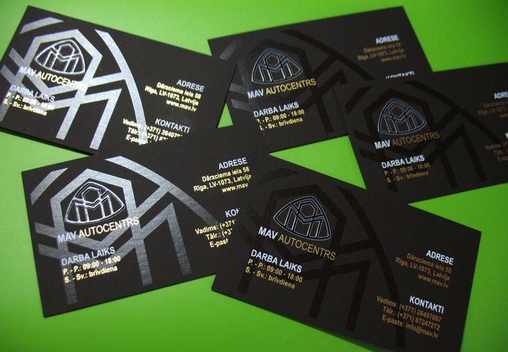 Serigraphy business cards for auto center / Sietspiedes un lakošanas tehnikā drukātās vizītkartes / Шелкография и лакирование на визитках