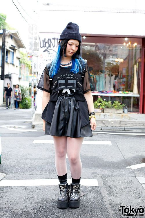 All Black Outfit With Blue Hair And Monomania Credit