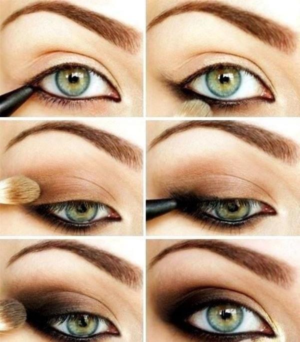 Sehr effektvolles Schminken auf hellen Augen                              …
