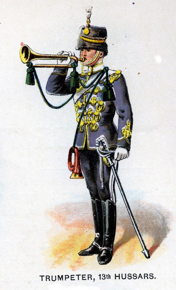 British; 13th Hussars, Trumpeter, c.1912 from Bands of the British Army by W.J. Gordon and illustrated by F. Stansell