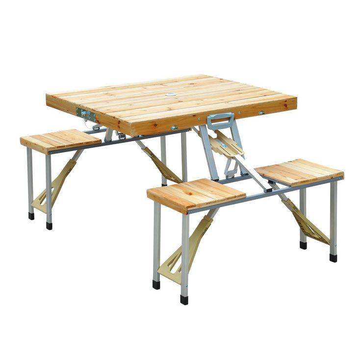 mesa plegable de madera camping playa picnic asientos y agujero para sombrilla