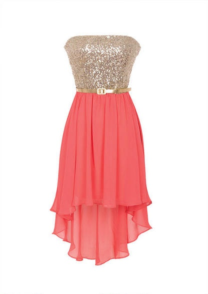 Strapless dress with sequin bodice and chiffon skirt. High-low hemline detail. Elastic waist and back zipper for comfortable fit. Adjustable/removable belt at waist. Fully lined.