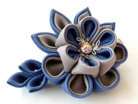 Kanzashi fabric flower hair clip. Grey and blue.