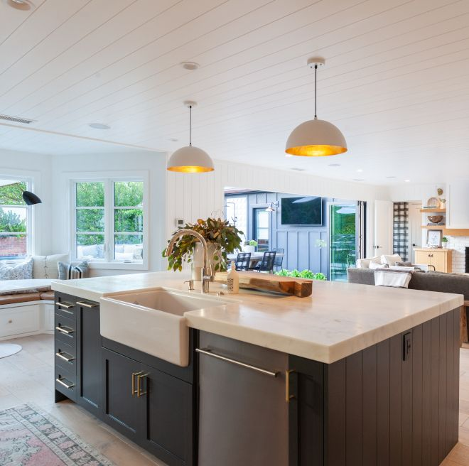Benjamin Moore Wrought Iron Kitchen Island With Calcutta Marble Honed With Mitered Edge Countertop Benja In 2020 Top Kitchen Trends Kitchen Renovation Kitchen Remodel