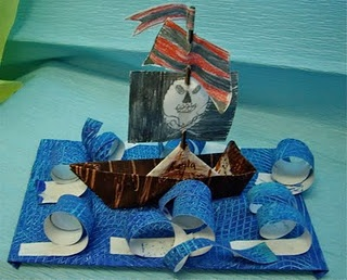 Pirate ship 3 D Also treasure chest drawings.