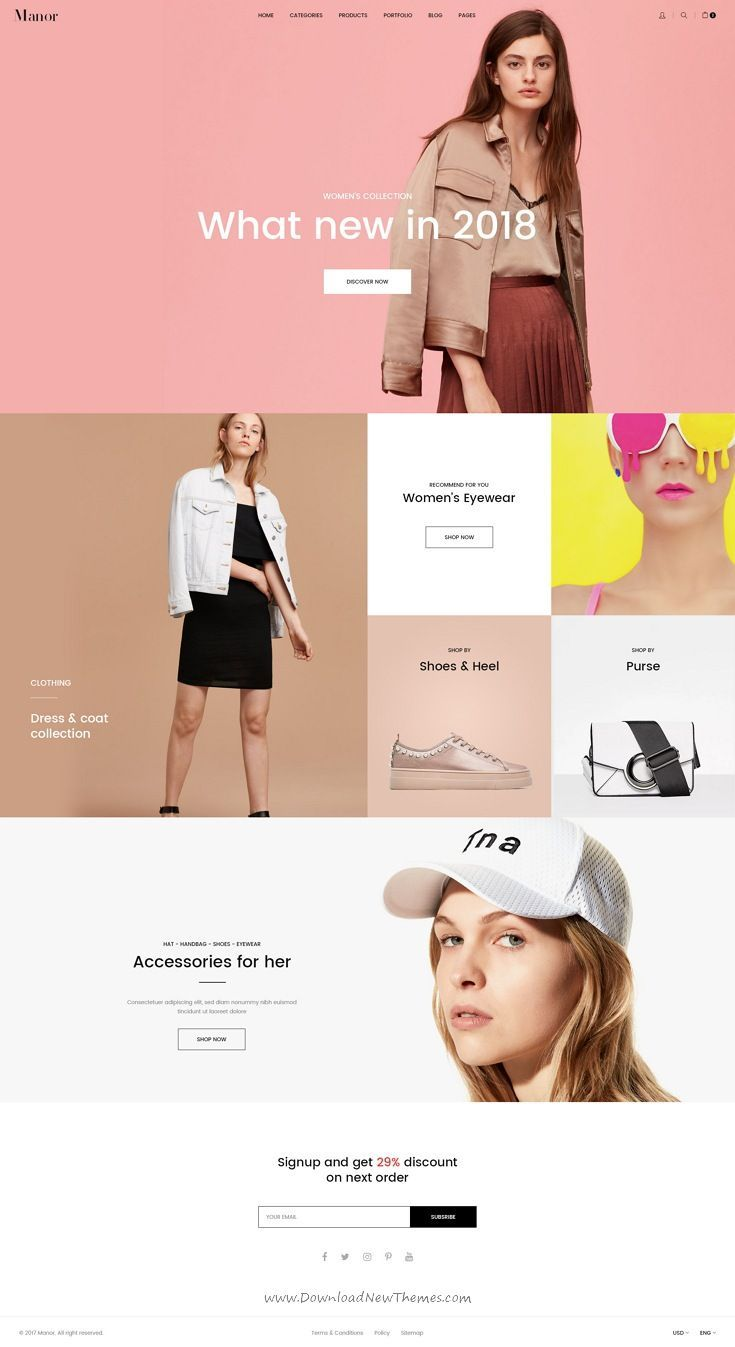 Manor Is Clean And Modern Design Psd Template For Stunning Fashion Store Ecommerce Website W Ecommerce Web Design Web Layout Design Ecommerce Website Design