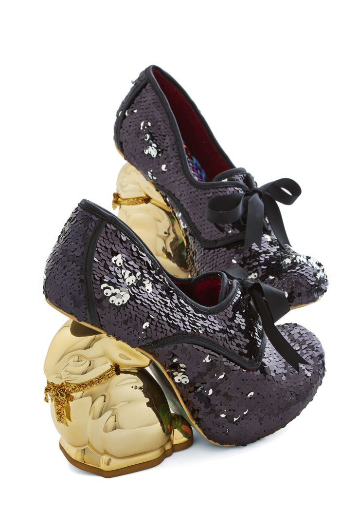 Look Who's Hare Heel in Black Sequins. Dropped jaws are the norm when you hop into the room in these black heels from Irregular Choice Gold Label! #black #modcloth