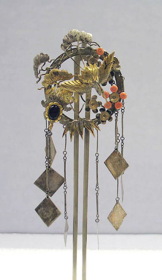 Japanese hair ornament; silver, and silver gilt | 19th century, from the Edo period (1615 - 1868)