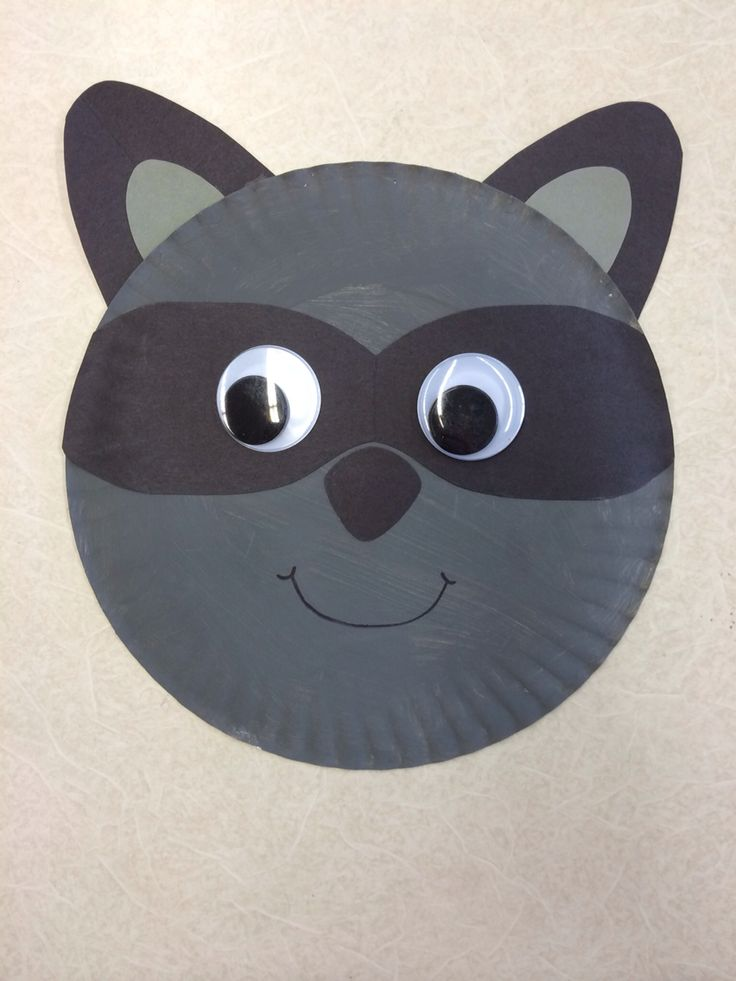 "Chester the Racoon paper plate craft for ""the kissing hand"""