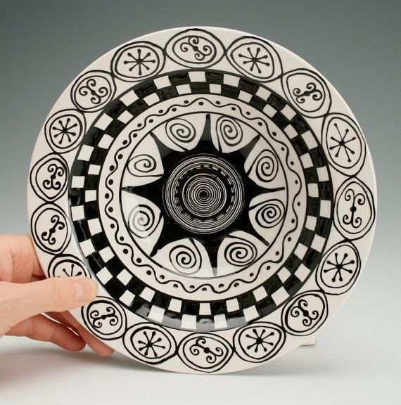 Rim Pasta Bowl Black and White Hand Painted by owlcreekceramics, $30.00