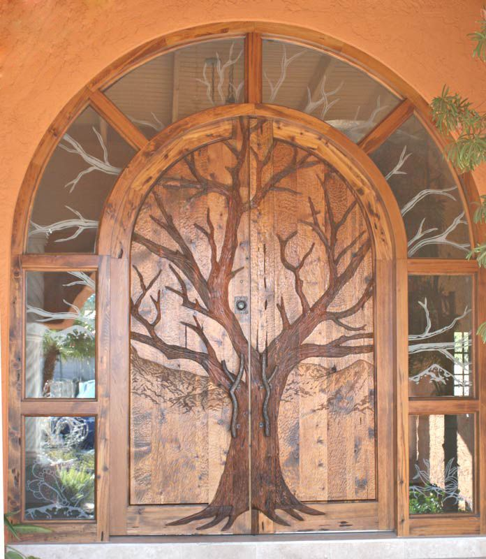Grand Entry Doors - Phoenix Home u0026 Garden A tree motif is the focal point of this hand-carved door which is crafted of hand-hewn exotic wood. & 69 best Whimsical Doors and Gates images on Pinterest | French doors ...