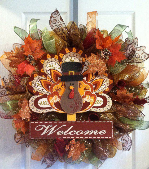 Turkey Deco Mesh Wreath | 20 Beautiful Thanksgiving Decoration DIY Ideas To Decorate Your Home ...