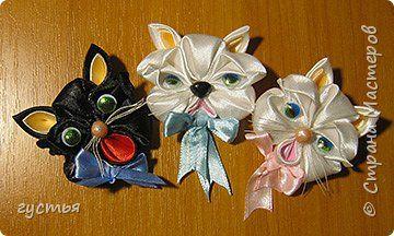 Мастер-класс Цумами Канзаши МК котёнок Ленты фото 1