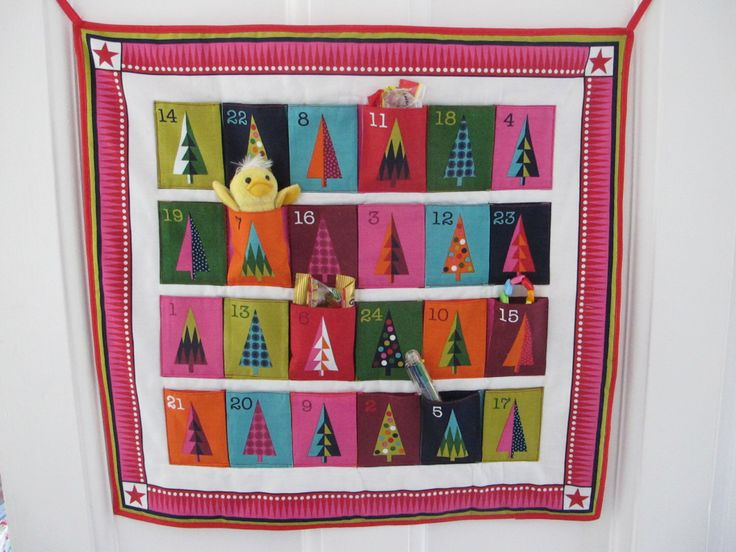 Funky colourful Christmas advent calendar, children's advent, fabric advent calendar, holidays, quilted, Christmas gift, home wall decor by WeeWonder on Etsy https://www.etsy.com/listing/476031643/funky-colourful-christmas-advent