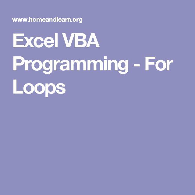 Excel VBA Programming - For Loops