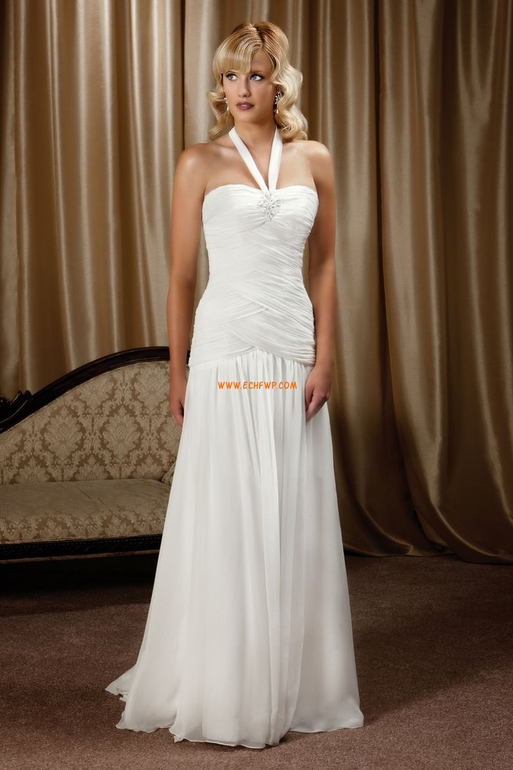A-linje Halter Chic & Modern Lyx Bröllopsklänningar