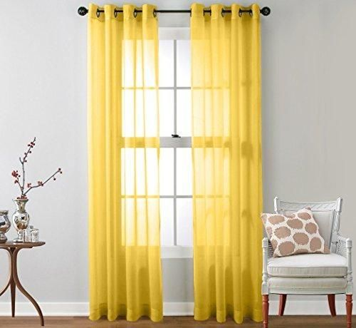 "HLC.ME 2 Piece Sheer Window Curtain Grommet Panels (Bright Yellow) - 84"" Inch Long"