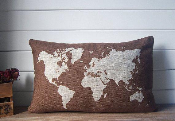 World map lumbar pillow cotton linen decorative throw by Ideccor