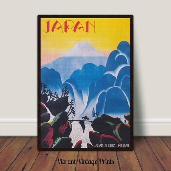 Japan Mount Fuji Colorful Vintage Travel Poster Printable