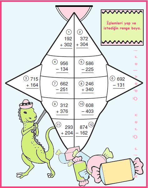 ilkokul ödevleri: 3. sınıf toplama ve çıkarma aliıştırmaları