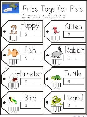 """Pet dramatic play. students could """"purchase"""" stuffed animals with play money"""