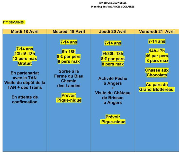 Planning des vacances scolaire d'Avril. - http://www.ambitions-jeunesses.com/2017-04-04/planning-vacances-scolaire-davril.html