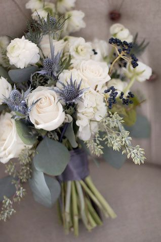 Rose and thistle bridal bouquet | Katie Jane Photography | see more on: http://burnettsboards.com/2014/11/brunch-wedding-mimosa-bar-crepe-cake/ Little blue/black flowers