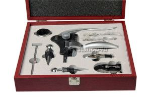 9 Piece Rabbit Corkscrew Wine Bottle Opener Set in Handsome Mahogany Box   See more about wine bottles, bottle openers and rabbits.