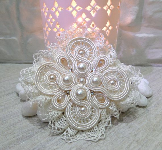 """Ivory Handmade Soutache Brooch  """"Marie-Antoinette"""" -  Elegant Jewelry with pearl, crystals, Swarovski and lace"""
