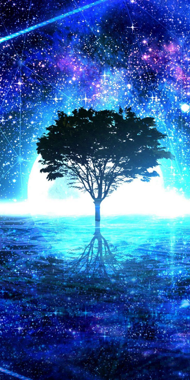 Original, tree, shine, glow, silhouette, art, 1080x2160