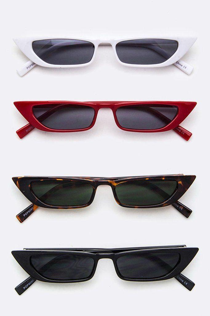 a663a8249ca34 Skinny Black Flat Top Cat Eye Sunglasses