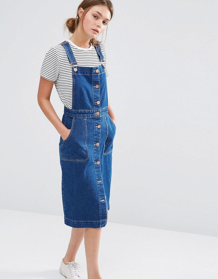 Image 1 - Oasis - Robe salopette en jean boutonnée