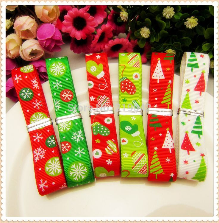 1472047 ,16mm 12 yards 6 color mix Christmas Series printed grosgrain ribbon,Clothing accessories,DIY jewelry wedding package