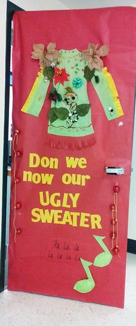 ugly sweater door 1 christmas door pinterest christmas door ugly sweater and christmas sweaters