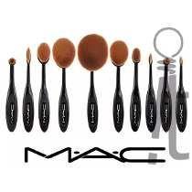 Set De 10 Brochas Oval Mac Para Base Rubor Corrector Y Polvo