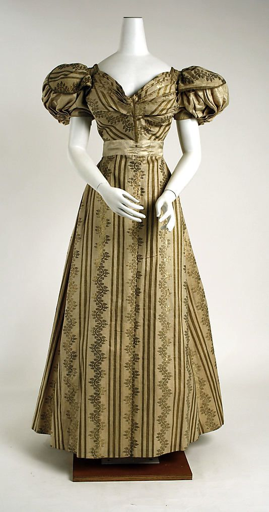 Circa 1828 silk dress (ball gown), British. Via The Met.