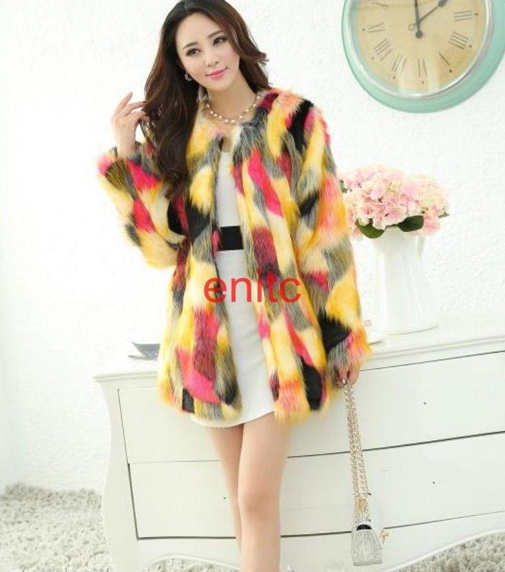 Vogue Womens Winter Colorful Faux Fur Coat Mid Long Slim Parka Overcoat Outwear