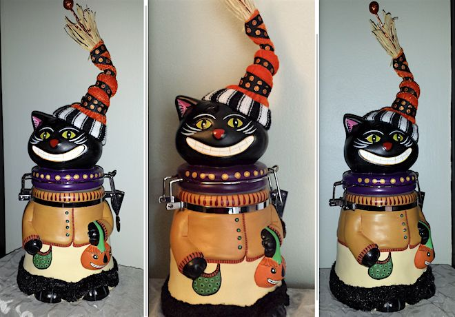 Miss Kitty cookie jar. Inspired by my lifelong love of vintage Halloween cats. Hand painted ceramic canister, with secure metal collar that holds the lid (her head) on. Flip-up clasp closure, with rubber gasket to ensure proper seal and prevent chipping. By Ellie Gee *** MacabreWebs Studios *** 2016 Available on Etsy  http://www.etsy.com/listing/285575341/miss-kittys-cookie-jar
