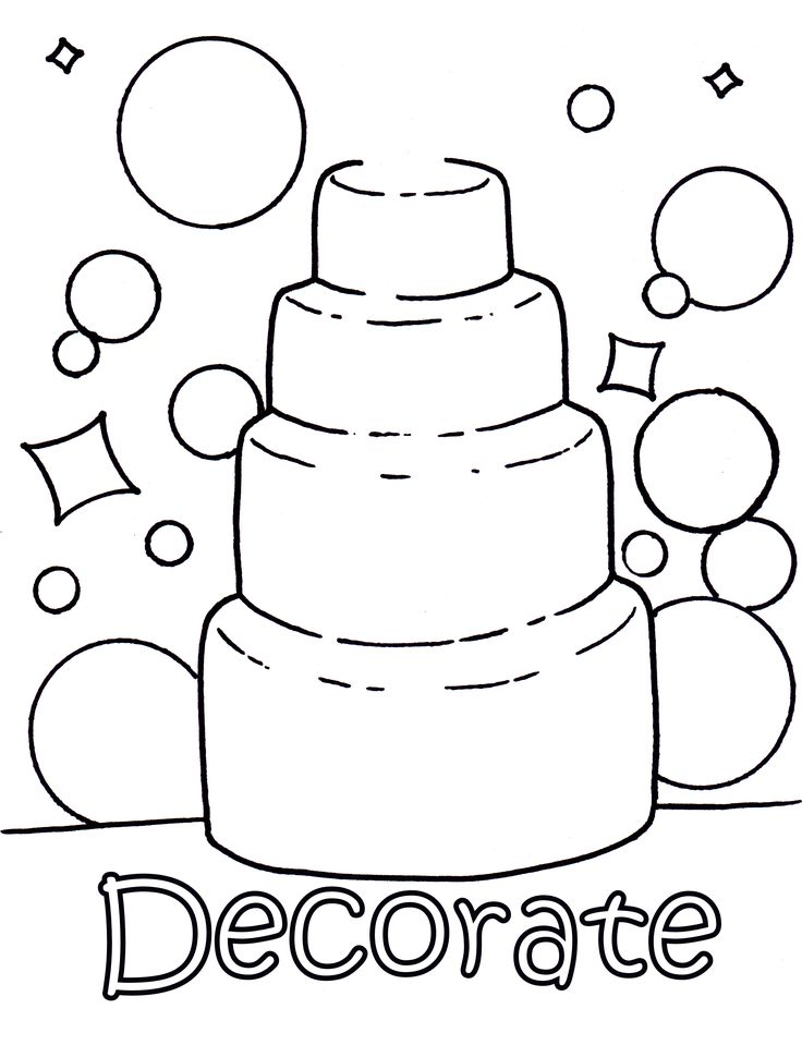 decorate your own wedding cake colouring page - Kids Wedding Coloring Book