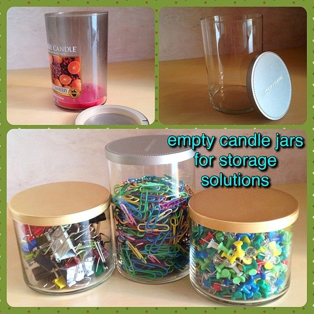 empty candle jars for home office storage #upcycling #organization