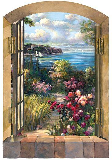 Scenic Murals Window Garden By The Sea Window Wall Art Accent Mural Rz Faux Wall Painting Wall Murals Garden Mural Wall