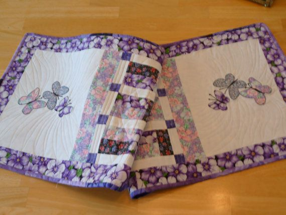 Charming purple table runner.  Great for a spring table.