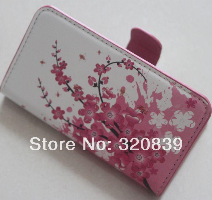 Би розовый сливы цветок кожаный бумажник стенд флип сумка чехол для Samsung Galaxy Ace 3 S7270 S7272 S7275 новый